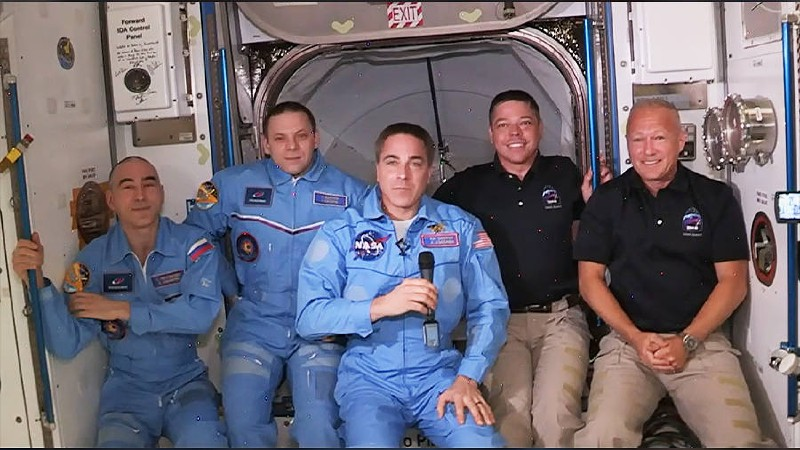 Soyuz MS-16 and SpaceX DM-2 crews aboard ISS